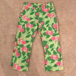 Lilly Pulitzer Capri pants•EUC•6•green/pink floral